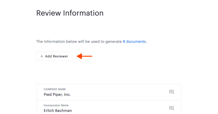Add Reviewer button on Review Information page