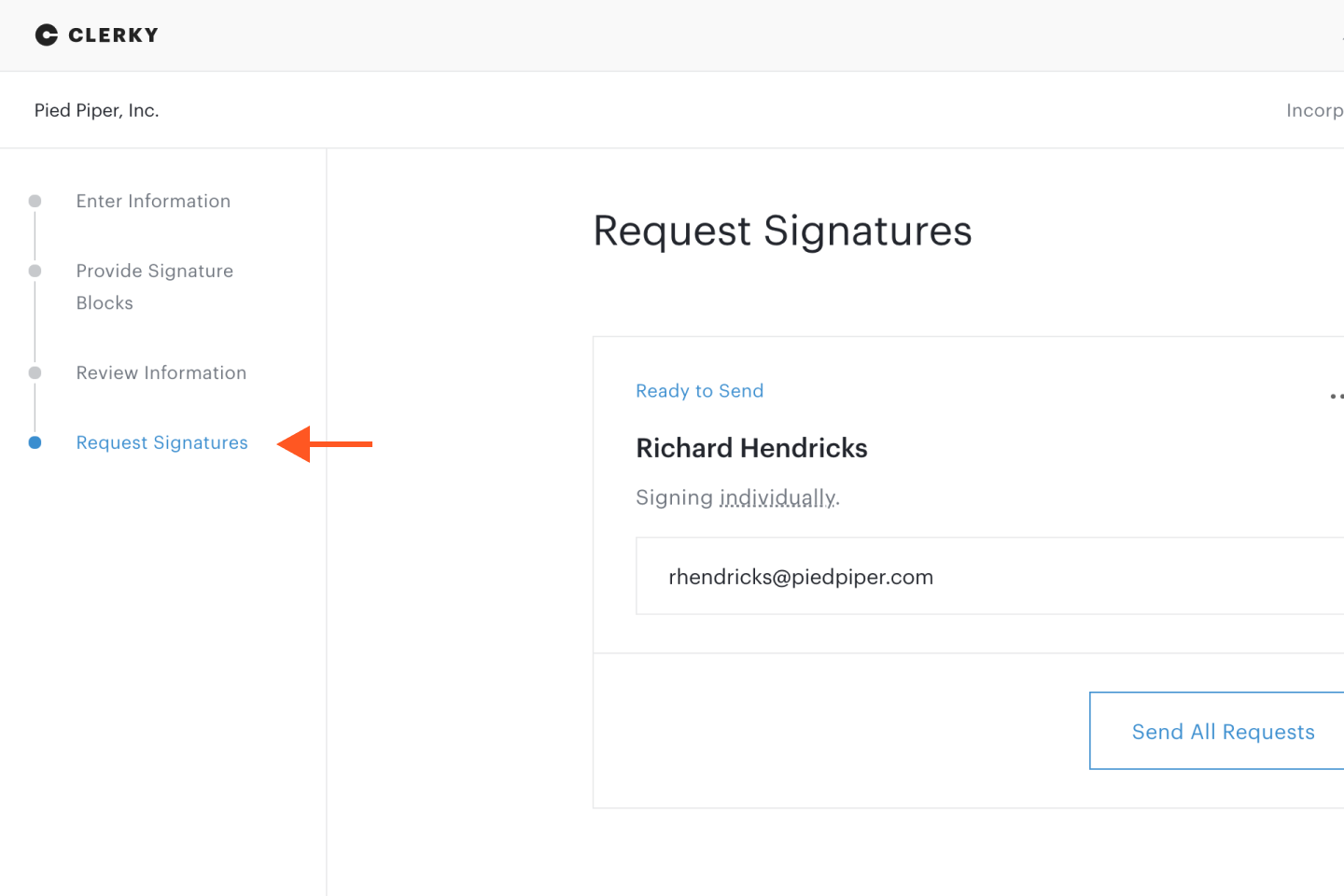Request Signatures step on document set workflow step list