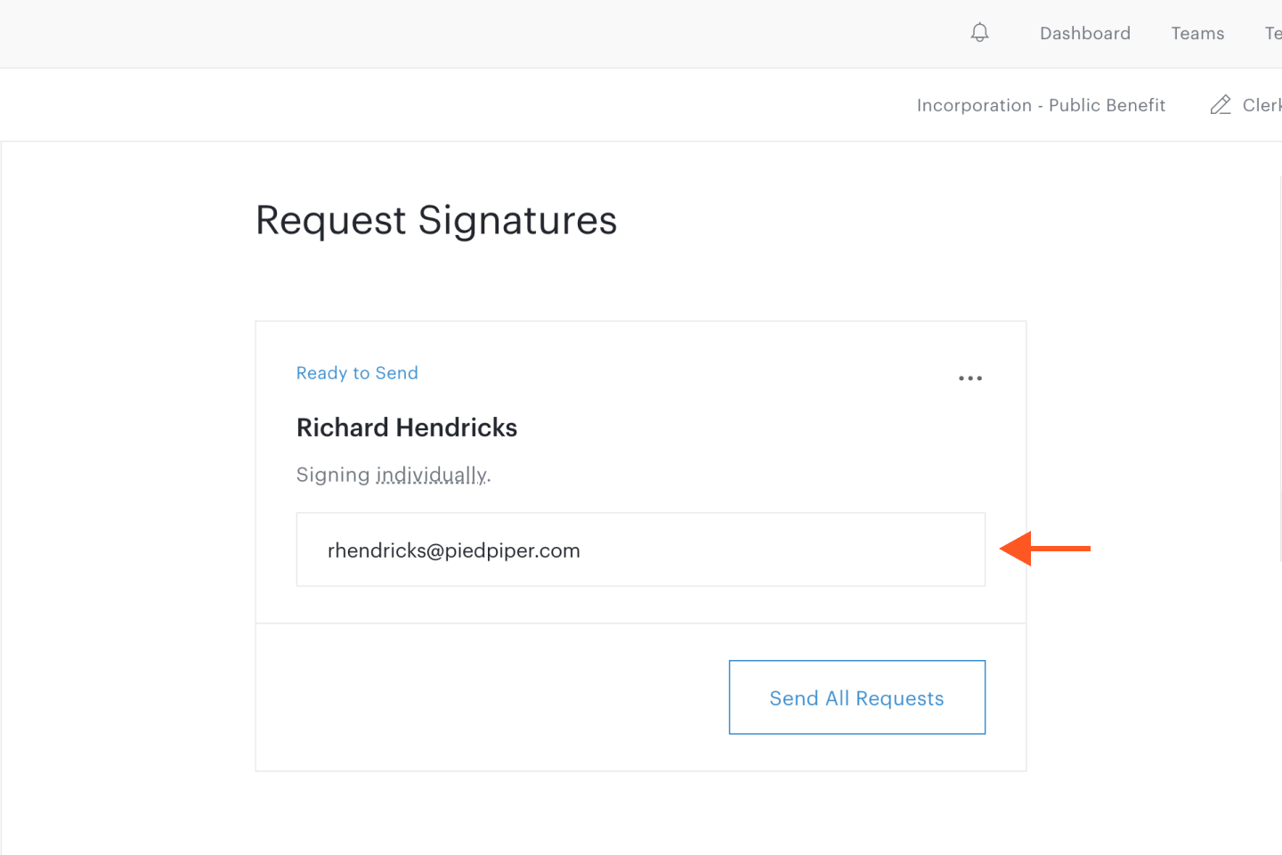 Email address text field in Request Signatures step in document set workflow