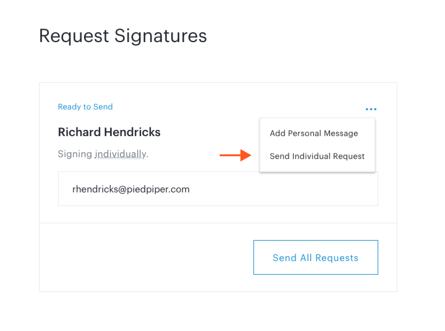 Send Individual Request button in Request Signatures step in document set workflow