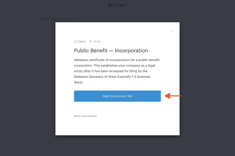 Start Document Set button
