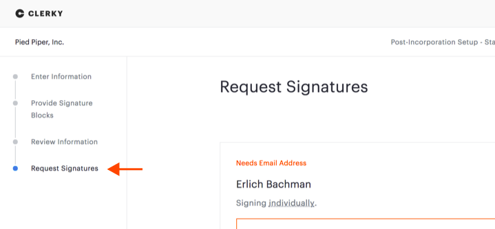 Step list on left side of screen, with arrow pointing to Request Signatures step