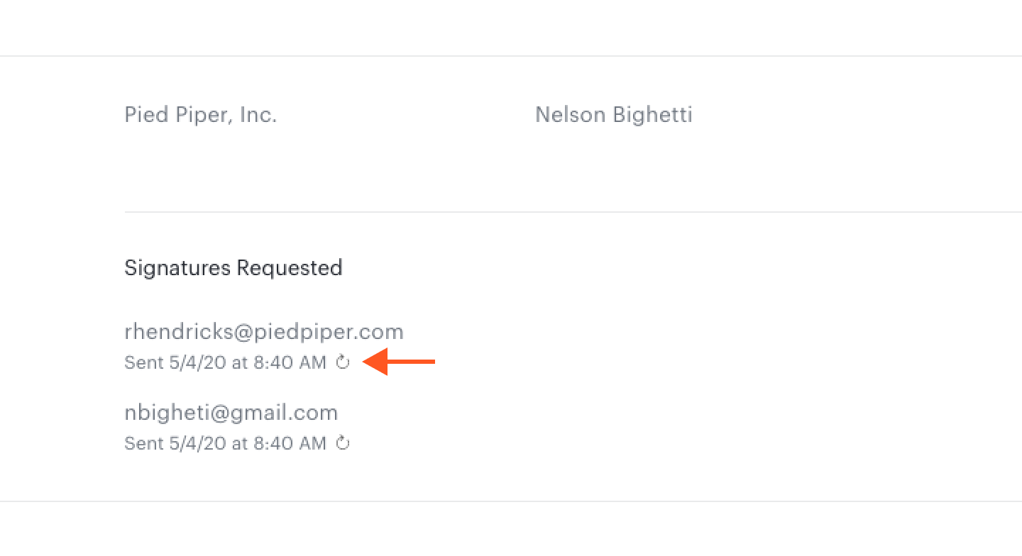 Resend icon below email address on dashboard