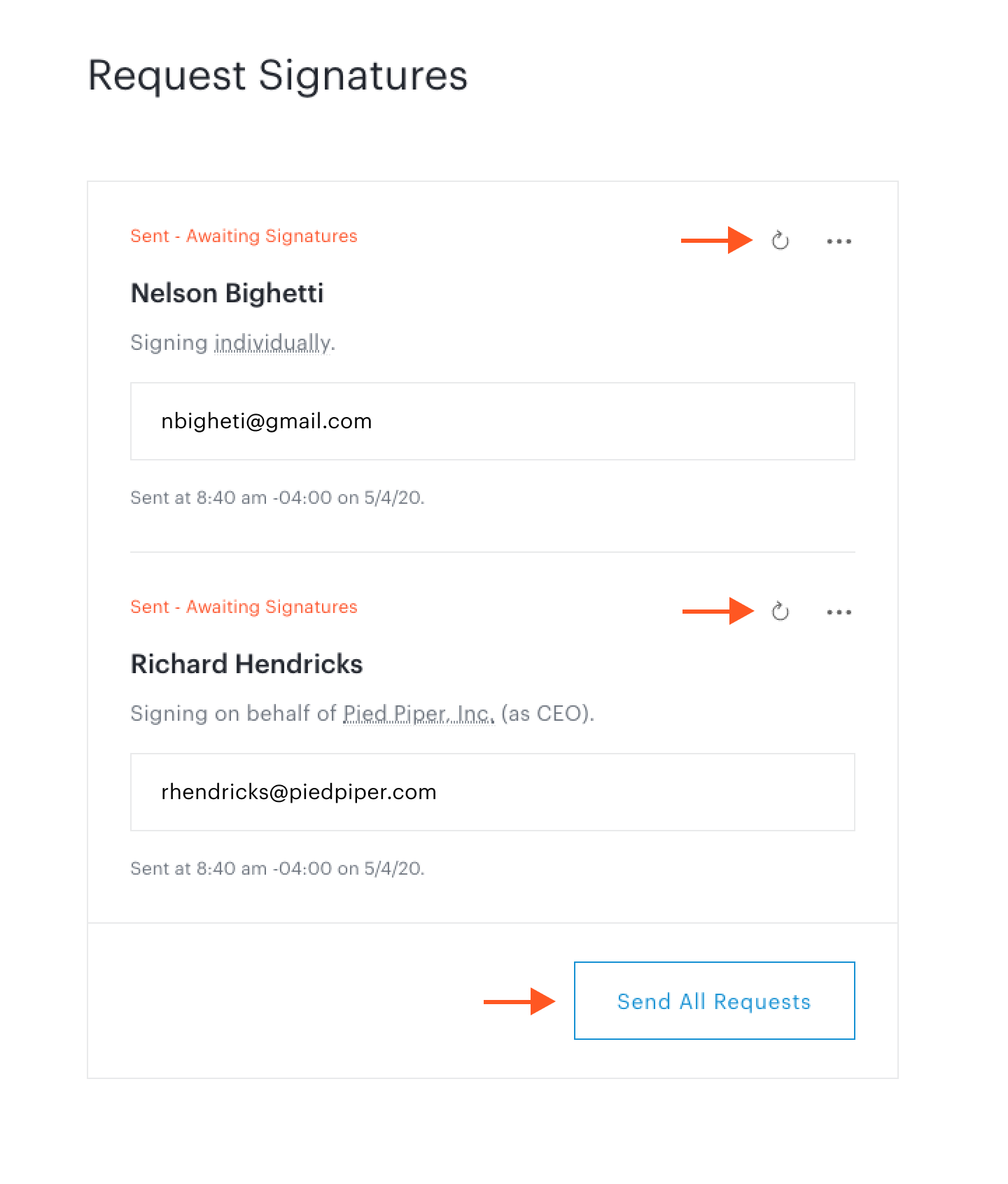 Resend icon and Send All Requests button in Request Signatures step in document set workflow