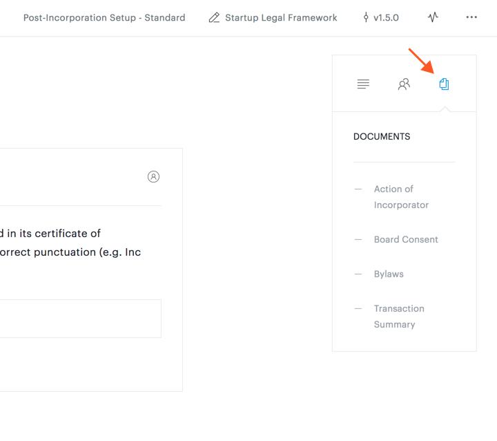 documents tab of summary panel