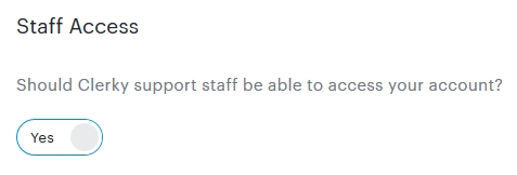 Staff Access set to Yes