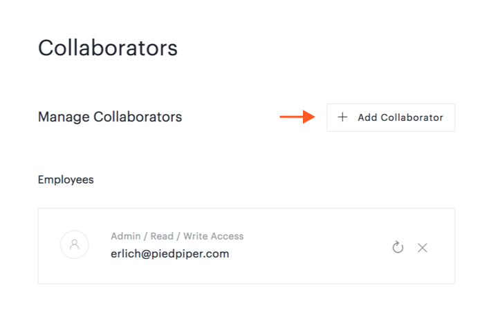 Add Collaborator button on Collaborators page