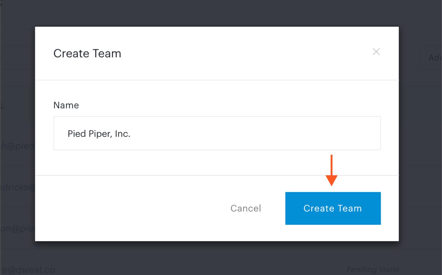 Click Create Team button