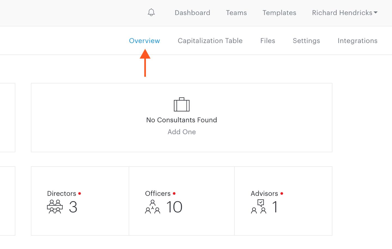 Overview link in team sub-navigation bar